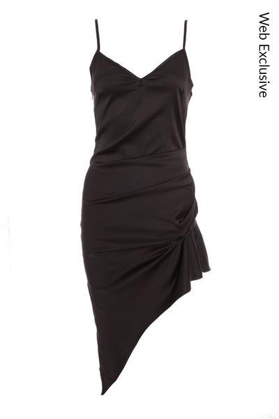 Black Satin Asymmetric Midi Dress
